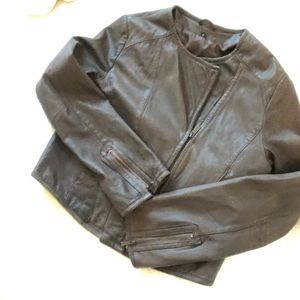 Jackets & Blazers - Brown leather motorcycle jacket